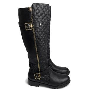 Steve Madden black leather quilted tall boots sz 8